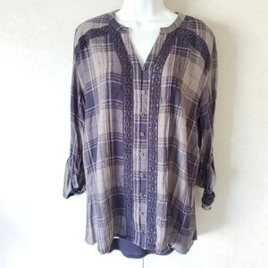 Knox Rose Plaid Button Down Crochet Sheer Top
